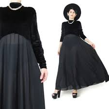 90s long sleeve velvet dress black velvet from honey moon muse