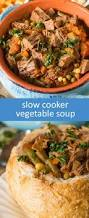 slow cooker vegetable soup made with roast beef