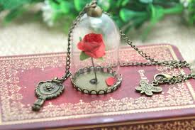 rose glass necklace images 12pcs lot beauty and the beast enchanted rose inspired necklace jpg