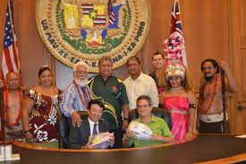 American Samoan Flag Doug Chin Lt Governor Shan Tsutsui Celebrates Samoan Flag Day