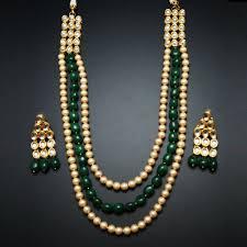 indian beads necklace images Gini gold kundan pearls and green beads necklace gold indian jpg
