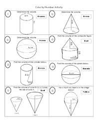 volume cylinder worksheet volume of cylinders cones and spheres color by number