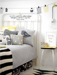 love this yellow and grey color scheme for a bedroom photo from