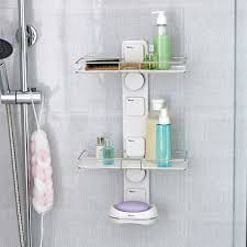 bathroom shoo holder hot sale bathroom diy wall suction cup shelving double bathroom