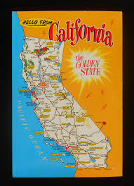 California State Map 1970s Postcard State Map Of California Landmarks Icons The Golden
