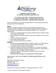 Treasurer Resume Seeking Proposals For Janitorial Services Deseronto Ca