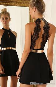 simple short prom dresses halter neck backless lace graduation