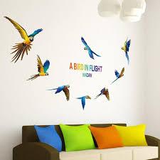 stickers pour chambre d enfant 3d bande dessinée perroquet oiseau stickers muraux pvc vinyle