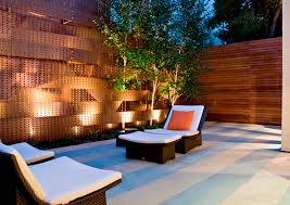 Japanese Patio Design Comfortable Chaise Longue And Sparkling Outdoor Lighting Ideas For