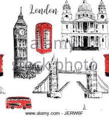london symbols st paul cathedral big ben and tower bridge stock