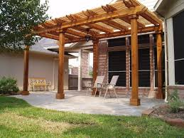 mahogany pergola deck roof cover with simple furniture in backyard