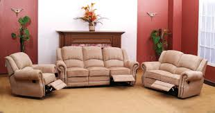 Fabric Sofa Recliners by Beige Suede Fabric Traditional Reclining Sofa Woptional Items Room