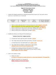 Properties Of Light Worksheet Metals Worksheet 1 Metals Alloy