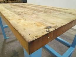 industrial butcher block workbench table welded steel frame