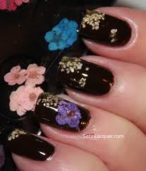 mash nail dried flower nail art set in lacquer