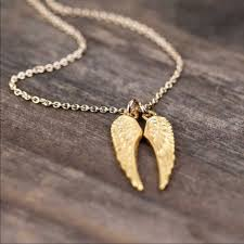 angel wings gold necklace images Golden threads jewelry double angel wings gold necklace nwt jpg