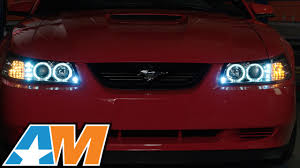 led halo headlight accent lights 1999 2004 mustang chrome projector headlights dual led halo review