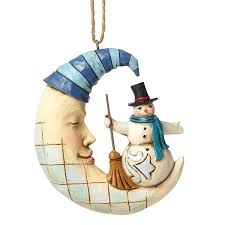 amazon com jim shore heartwood creek snowman on sleeping moon
