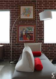 Interior Designer Houston Tx by Loft Modern Living Room Exposed Brick Wall Black White Red