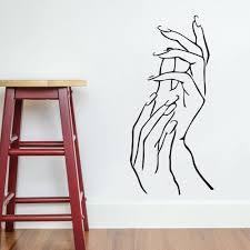 nail hands art beauty shop store business wall art stickers decal