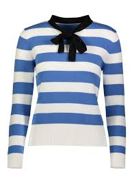 sweater with striped sweater with bow modli