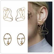 human earrings miage free shipping exaggerating metal hollow geometric