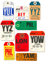 V is for vintage luggage tags tracephabet