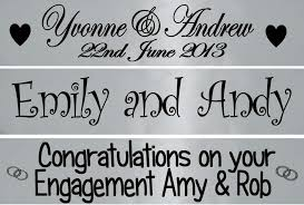 Congratulations Engagement Banner Personalised Silver Wedding Anniversary Engagement Banner Party