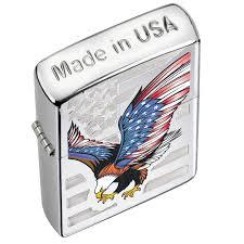 American Flag Zippo Zippo Eagle Flag High Polish Chrome Lighter Walmart Com