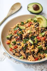 healthy southwest pasta salad with chipotle lime greek yogurt