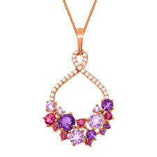 natural amethyst necklace images 2 1 3 ct natural amethyst pink tourmaline pendant in 18k rose jpg
