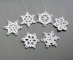 6 crochet snowflake ornaments small snowflake assortment