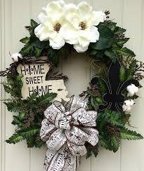 magnolia wreath burlap cotton bolls fleur de lis home sweet home
