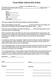 auto dealer bill of sale template tm sheet