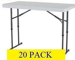 High Top Folding Table 2941 2939 20 Pack Lifetime 4 Ft Adjustable White Granite Folding