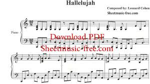 hallelujah piano sheet music leonard cohen youtube