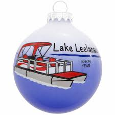 personalized pontoon three tone glass ornament penned