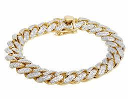 bracelet diamond men images Solid 10k yellow gold miami cuban link vs diamond 8 5 inch 12 9mm jpg