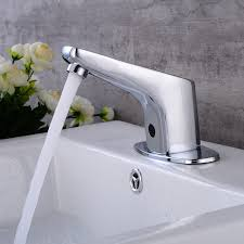 Automatic Bathroom Faucet by Black Chrome White Colors Water Saving Automatic Bathroom Faucet