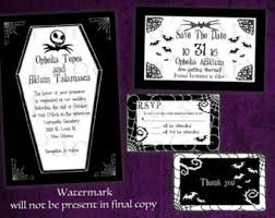 nightmare before christmas wedding invitations coffin invitation etsy