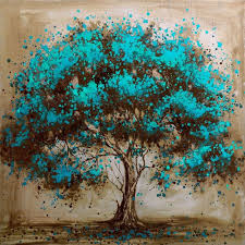 painted modern tree decoration painting on canvas