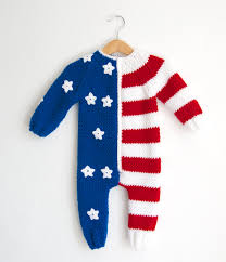 Baby Flag Hand Knitted Wool American Usa Flag Baby Romperusa 4th Of