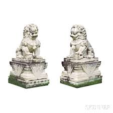 foo lions for sale pair of white marble foo lions sale number 2992b lot number 15