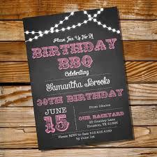 chalkboard bbq birthday invitation 16th 20th 21st 25th 30th 40th