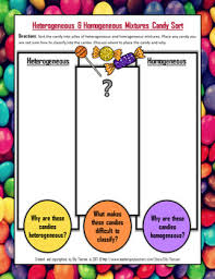 heterogeneous and homogeneous mixtures candy sorting activity by