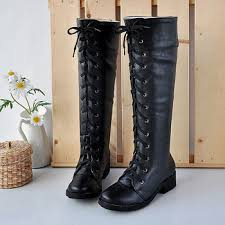 womens knee high boots sale botas femininas black white winter leather boots