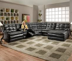 Black Sectional Sofa With Chaise Luxurious Tufted Leather Sectional Sofa In Black Color With