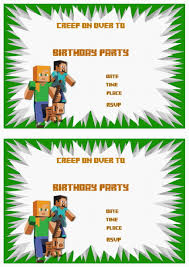 minecraft birthday invitations minecraft birthday invitations with a