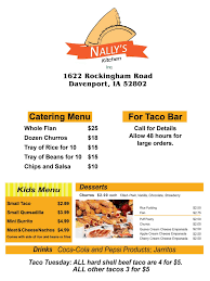 Tamale Kitchen Menu Delivery U0026 Carry Out Mexican Restaurant Nally U0027s Kitchen