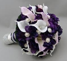 purple calla purple lavender real touch calla wedding bouquet real touch